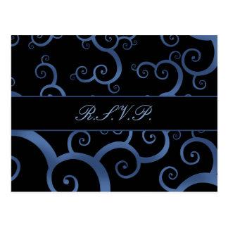 blue damask  Wedding rsvp card