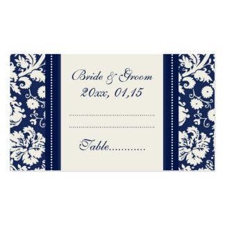 Blue Damask Wedding Table Place Setting Cards Double-Sided Standard Business Cards (Pack Of 100)