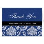 Blue Damask Wedding Thank You Cards