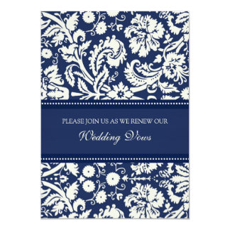 Blue Damask Wedding Vow Renewal Invitations