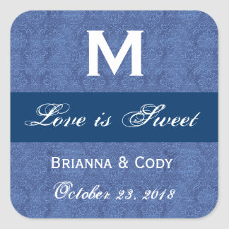 Blue Damask WeddingMonogram Square Sticker