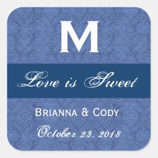 Blue Damask WeddingMonogram Square Sticker