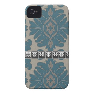 Blue Damask with a Black Greek key pattern Case-Mate iPhone 4 Case