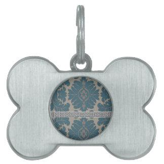 Blue Damask with a Black Greek key pattern Pet Tag