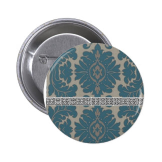 Blue Damask with a Black Greek key pattern Pinback Button