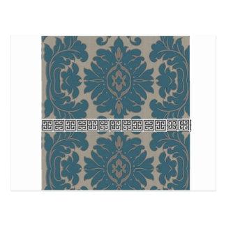 Blue Damask with a Black Greek key pattern Postcard