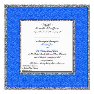 Blue Damask with Pewter U K Wedding Invitation