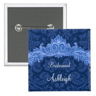 Blue Damaskl Vintage Bridesmaid Wedding Custom Pinback Button
