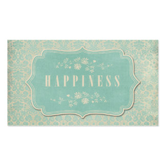 Blue Damasks Happiness Label Soft Business Card Templates