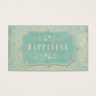 Blue Damasks Happiness Label Soft Business Card