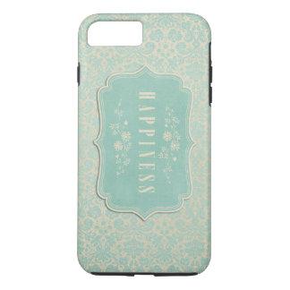 Blue Damasks Happiness Label Soft iPhone 7 Plus Case