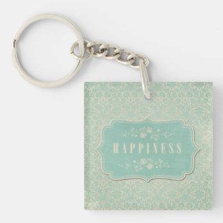 Blue Damasks Happiness Label Soft Keychain