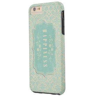 Blue Damasks Happiness Label Soft Tough iPhone 6 Plus Case