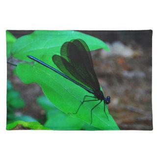 Blue Damselfly on a green leaf Place Mat