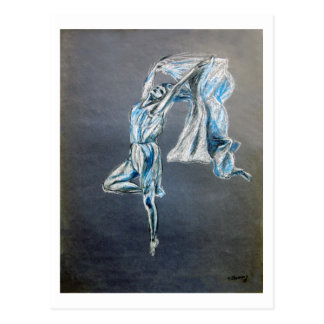 blue dancer art painting postcard