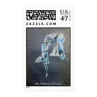 blue dancer art painting stamp