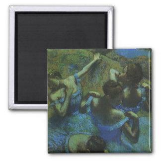 Blue Dancers by Edgar Degas, Vintage Impressionism 2 Inch Square Magnet