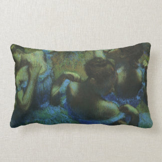 Blue Dancers by Edgar Degas, Vintage Impressionism Lumbar Pillow