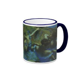 Blue Dancers by Edgar Degas, Vintage Impressionism Ringer Mug