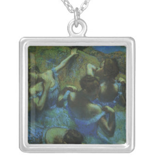Blue Dancers by Edgar Degas, Vintage Impressionism Silver Plated Necklace
