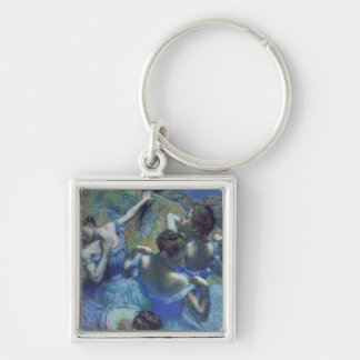 Blue Dancers, c.1899 (pastel) Silver-Colored Square Keychain
