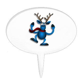 Blue dancing reindeer cartoon cake toppers