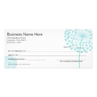 Blue Dandelion Flower Gift Certificate Design 3