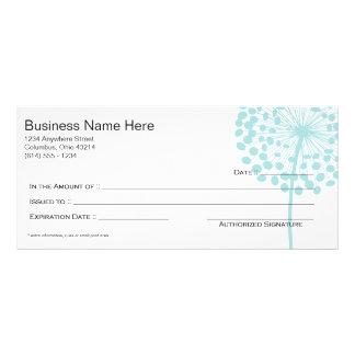 Blue Dandelion Flower Gift Certificate Design 3 Customized Rack Card