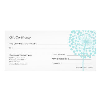 Blue Dandelion Flower Gift Certificate Design 4