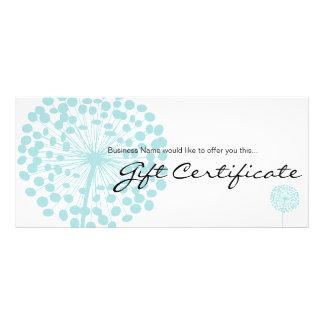 Blue Dandelion Flower Gift Certificate Design 4b Custom Rack Card