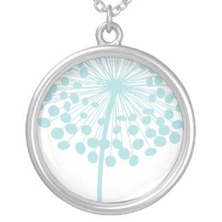 Blue Dandelion Flower Necklace