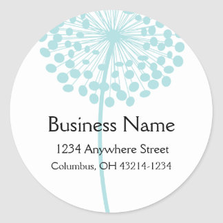Blue Dandelion Flower Round Address Labels