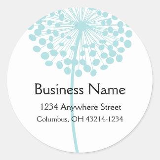 Blue Dandelion Flower Round Address Labels