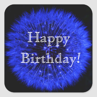 Blue Dandelion Happy Birthday Sticker