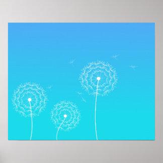 Blue dandelion in spring poster