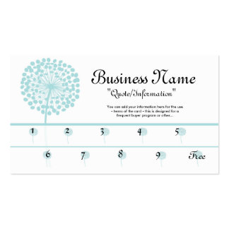 Blue Dandelion Loyalty Cards/Frequent Buyer Business Card Templates