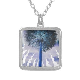 Blue Dandelion Puff Square Pendant Necklace