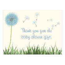 Blue Dandelion Thank You Postcard