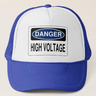 Blue Danger High Voltage Hazard Sign Hat