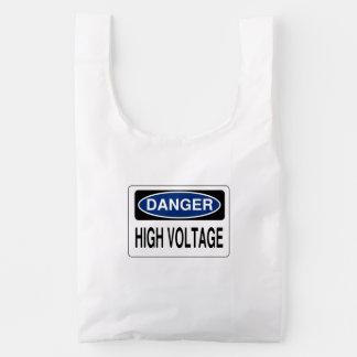 Blue Danger High Voltage Hazard Sign Reusable Bag