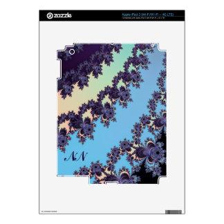 Blue Dangling Fractal Stripes Monogrammed iPad 3 Skins