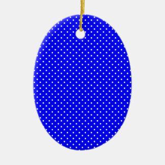 Blue-Dark And-White-Polka-Dots Ceramic Ornament