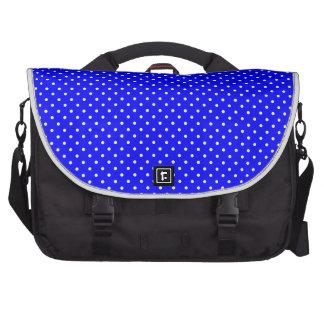 Blue-Dark And-White-Polka-Dots Laptop Messenger Bag