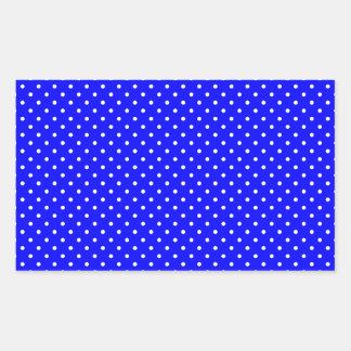 Blue-Dark And-White-Polka-Dots Rectangular Sticker