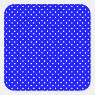 Blue-Dark And-White-Polka-Dots Square Sticker
