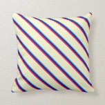 [ Thumbnail: Blue, Dark Blue, Crimson, and Light Yellow Lines Throw Pillow ]
