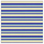 [ Thumbnail: Blue, Dark Blue & Tan Colored Pattern of Stripes Fabric ]