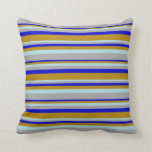 [ Thumbnail: Blue, Dark Goldenrod, Powder Blue & Dark Grey Throw Pillow ]