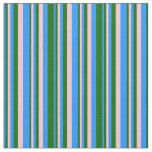 [ Thumbnail: Blue, Dark Green, and Pink Colored Pattern Fabric ]