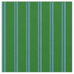 [ Thumbnail: Blue & Dark Green Colored Stripes/Lines Pattern Fabric ]